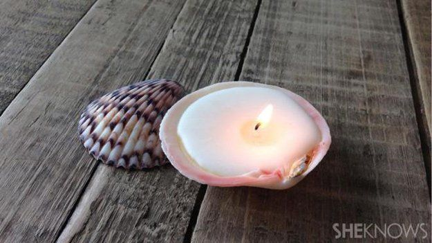 DIY Beach House Decor - DIY Seashell Candles - Cool DIY Decor Ideas While On A Budget - Cool Ideas for Decorating Your Beach Home With Shells, Sand and Summer Wall Art - Crafts and Do It Yourself Projects With A Breezy, Blue, Summery Feel - White Decor and Shiplap, Birchwood Boats, Beachy Sea Glass Art Projects for Living Room, Bedroom and Kitchen http://diyjoy.com/diy-beach-house-decor