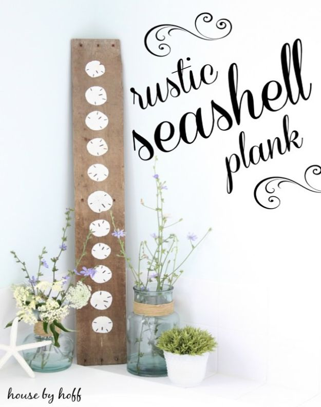 DIY Beach House Decor - DIY Seashell Plank - Cool DIY Decor Ideas While On A Budget - Cool Ideas for Decorating Your Beach Home With Shells, Sand and Summer Wall Art - Crafts and Do It Yourself Projects With A Breezy, Blue, Summery Feel - White Decor and Shiplap, Birchwood Boats, Beachy Sea Glass Art Projects for Living Room, Bedroom and Kitchen http://diyjoy.com/diy-beach-house-decor