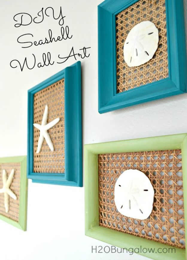 DIY Beach House Decor - DIY Seashell Wall Art - Cool DIY Decor Ideas While On A Budget - Cool Ideas for Decorating Your Beach Home With Shells, Sand and Summer Wall Art - Crafts and Do It Yourself Projects With A Breezy, Blue, Summery Feel - White Decor and Shiplap, Birchwood Boats, Beachy Sea Glass Art Projects for Living Room, Bedroom and Kitchen http://diyjoy.com/diy-beach-house-decor