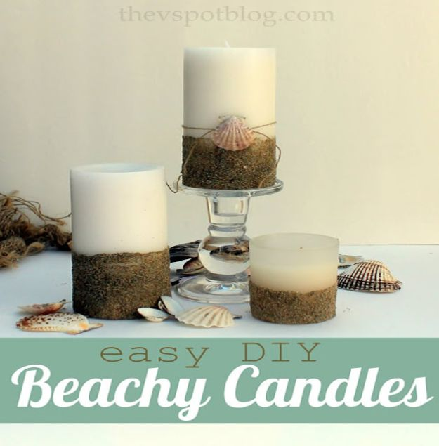 DIY Beach House Decor - Easy DIY Beachy Candles - Cool DIY Decor Ideas While On A Budget - Cool Ideas for Decorating Your Beach Home With Shells, Sand and Summer Wall Art - Crafts and Do It Yourself Projects With A Breezy, Blue, Summery Feel - White Decor and Shiplap, Birchwood Boats, Beachy Sea Glass Art Projects for Living Room, Bedroom and Kitchen http://diyjoy.com/diy-beach-house-decor