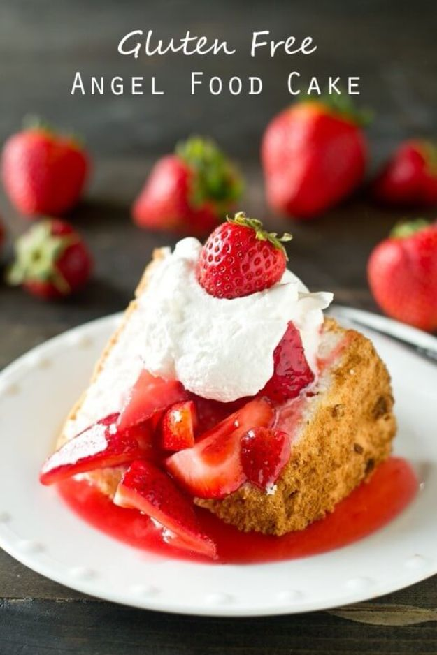 Gluten Free Desserts - Gluten Free Angel Food Cake - Easy Recipes and Healthy Recipe Ideas for Cookies, Cake, Pie, Cupcakes, Cheesecake and Ice Cream - Best No Sugar Glutenfree Chocolate, No Bake Dessert, Fruit, Peach, Apple and Banana Dishes - Flourless Christmas, Thanksgiving and Holiday Dishes http://diyjoy.com/gluten-free-desserts