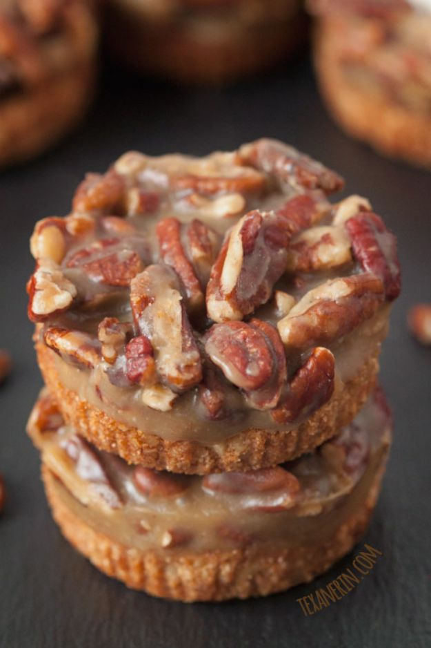 Gluten Free Desserts - Mini Caramel Pecan Tarts - Easy Recipes and Healthy Recipe Ideas for Cookies, Cake, Pie, Cupcakes, Cheesecake and Ice Cream - Best No Sugar Glutenfree Chocolate, No Bake Dessert, Fruit, Peach, Apple and Banana Dishes - Flourless Christmas, Thanksgiving and Holiday Dishes http://diyjoy.com/gluten-free-desserts