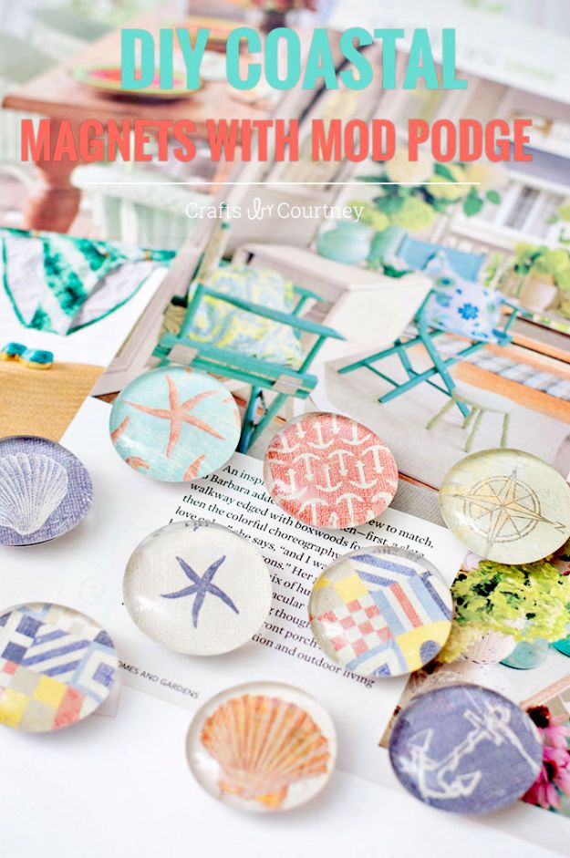 DIY Beach House Decor - Nautical Themed DIY Magnets - Cool DIY Decor Ideas While On A Budget - Cool Ideas for Decorating Your Beach Home With Shells, Sand and Summer Wall Art - Crafts and Do It Yourself Projects With A Breezy, Blue, Summery Feel - White Decor and Shiplap, Birchwood Boats, Beachy Sea Glass Art Projects for Living Room, Bedroom and Kitchen http://diyjoy.com/diy-beach-house-decor