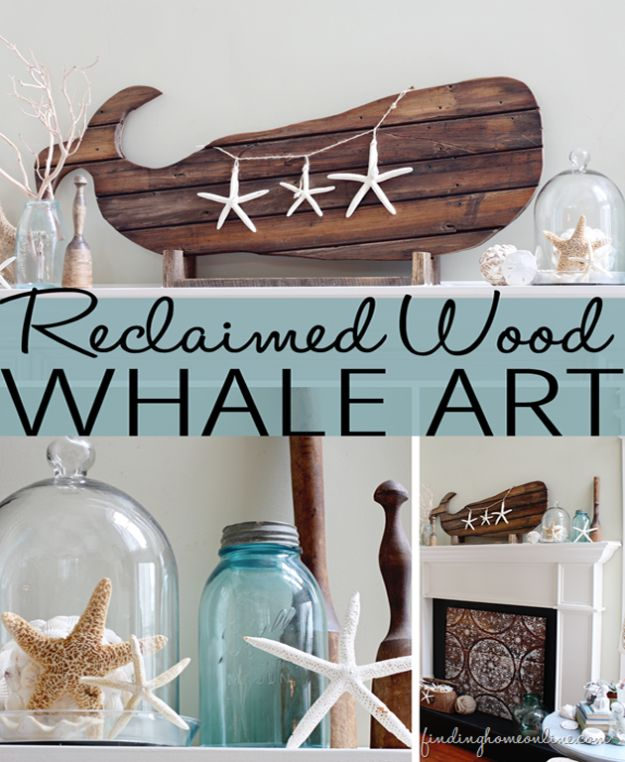 DIY Beach House Decor - Reclaimed Wood Whale Art - Cool DIY Decor Ideas While On A Budget - Cool Ideas for Decorating Your Beach Home With Shells, Sand and Summer Wall Art - Crafts and Do It Yourself Projects With A Breezy, Blue, Summery Feel - White Decor and Shiplap, Birchwood Boats, Beachy Sea Glass Art Projects for Living Room, Bedroom and Kitchen http://diyjoy.com/diy-beach-house-decor