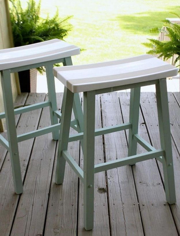 DIY Beach House Decor - Saddle Seat Bar Stools - Cool DIY Decor Ideas While On A Budget - Cool Ideas for Decorating Your Beach Home With Shells, Sand and Summer Wall Art - Crafts and Do It Yourself Projects With A Breezy, Blue, Summery Feel - White Decor and Shiplap, Birchwood Boats, Beachy Sea Glass Art Projects for Living Room, Bedroom and Kitchen http://diyjoy.com/diy-beach-house-decor