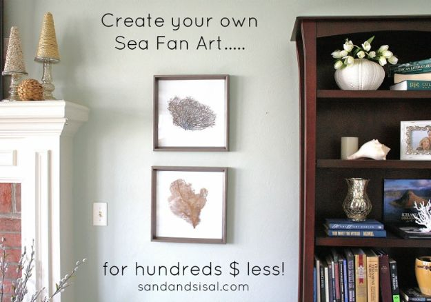 DIY Beach House Decor - Sea Fan Art - Cool DIY Decor Ideas While On A Budget - Cool Ideas for Decorating Your Beach Home With Shells, Sand and Summer Wall Art - Crafts and Do It Yourself Projects With A Breezy, Blue, Summery Feel - White Decor and Shiplap, Birchwood Boats, Beachy Sea Glass Art Projects for Living Room, Bedroom and Kitchen http://diyjoy.com/diy-beach-house-decor