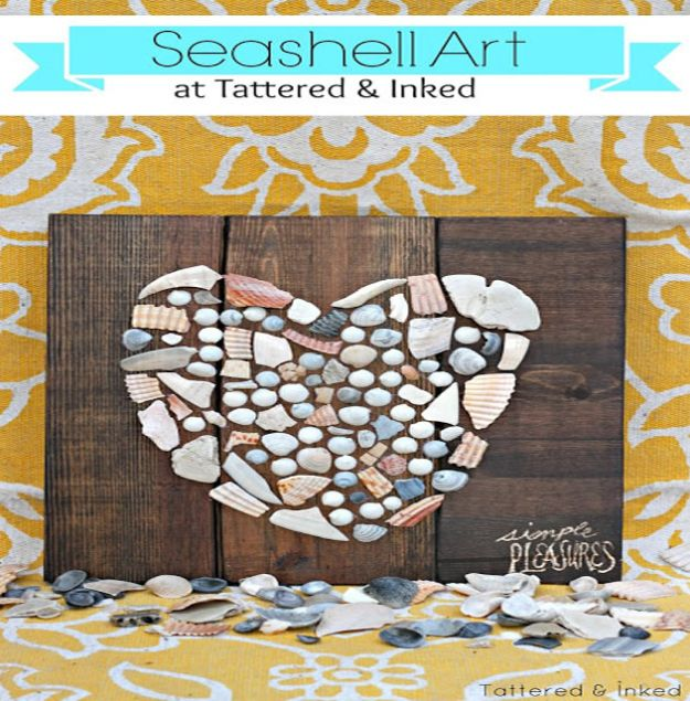 DIY Beach House Decor - Seashell Art - Cool DIY Decor Ideas While On A Budget - Cool Ideas for Decorating Your Beach Home With Shells, Sand and Summer Wall Art - Crafts and Do It Yourself Projects With A Breezy, Blue, Summery Feel - White Decor and Shiplap, Birchwood Boats, Beachy Sea Glass Art Projects for Living Room, Bedroom and Kitchen http://diyjoy.com/diy-beach-house-decor