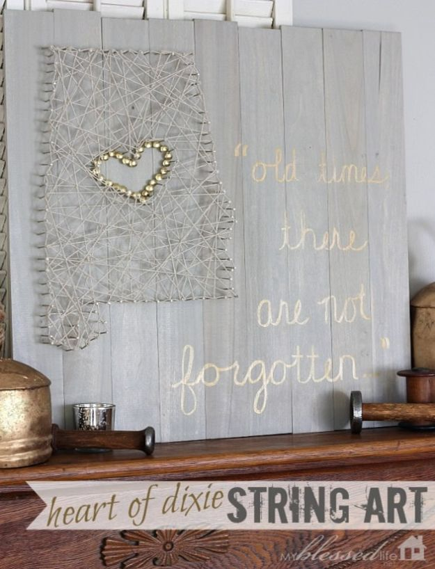 Cool State Crafts - State Inspired String Art - Easy Craft Projects To Show Your Love For Your Home State - Best DIY Ideas Using Maps, String Art Shaped Like States, Quotes, Sayings and Wall Art Ideas, Painted Canvases, Cute Pillows, Fun Gifts and DIY Decor Made Simple - Creative Decorating Ideas for Living Room, Kitchen, Bedroom, Bath and Porch http://diyjoy.com/cool-state-crafts
