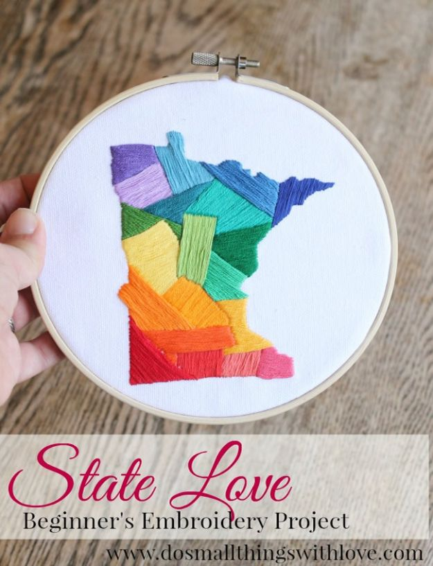 Cool State Crafts - State Love Embroidery - Easy Craft Projects To Show Your Love For Your Home State - Best DIY Ideas Using Maps, String Art Shaped Like States, Quotes, Sayings and Wall Art Ideas, Painted Canvases, Cute Pillows, Fun Gifts and DIY Decor Made Simple - Creative Decorating Ideas for Living Room, Kitchen, Bedroom, Bath and Porch http://diyjoy.com/cool-state-crafts