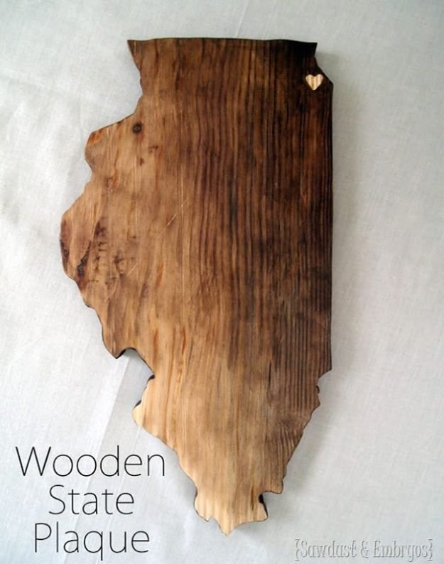 Cool State Crafts - Wooden State Plaque - Easy Craft Projects To Show Your Love For Your Home State - Best DIY Ideas Using Maps, String Art Shaped Like States, Quotes, Sayings and Wall Art Ideas, Painted Canvases, Cute Pillows, Fun Gifts and DIY Decor Made Simple - Creative Decorating Ideas for Living Room, Kitchen, Bedroom, Bath and Porch http://diyjoy.com/cool-state-crafts