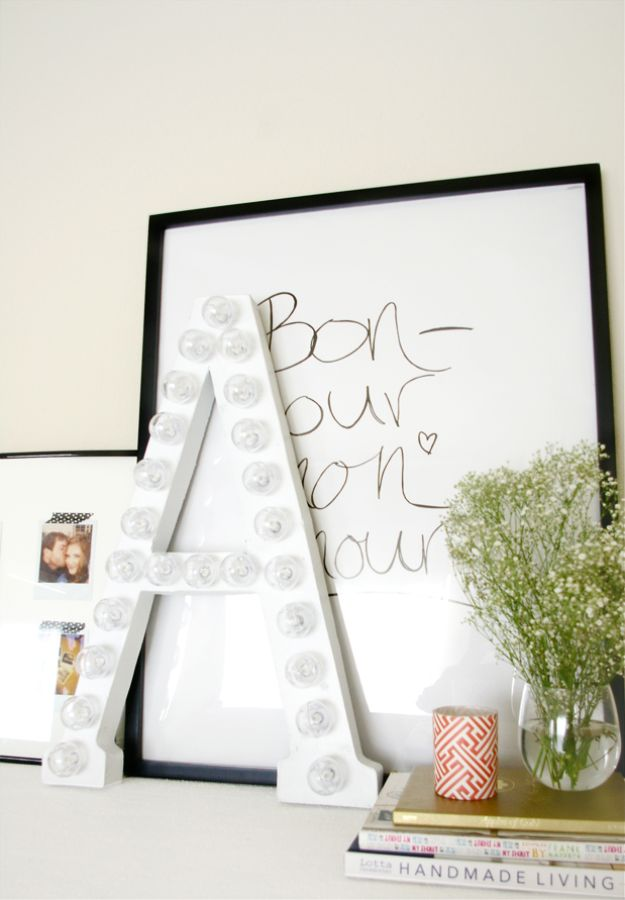All White DIY Room Decor - DIY White Marquee Letter - Creative Home Decor Ideas for the Bedroom and Living Room, Kitchen and Bathroom - Do It Yourself Crafts and White Wall Art, Bedding, Curtains, Lamps, Lighting, Rugs and Accessories - Easy Room Decoration Ideas for Modern, Vintage Farmhouse and Minimalist Furnishings - Furniture, Wall Art and DIY Projects With Step by Step Tutorials and Instructions http://diyjoy.com/all-white-decor-ideas