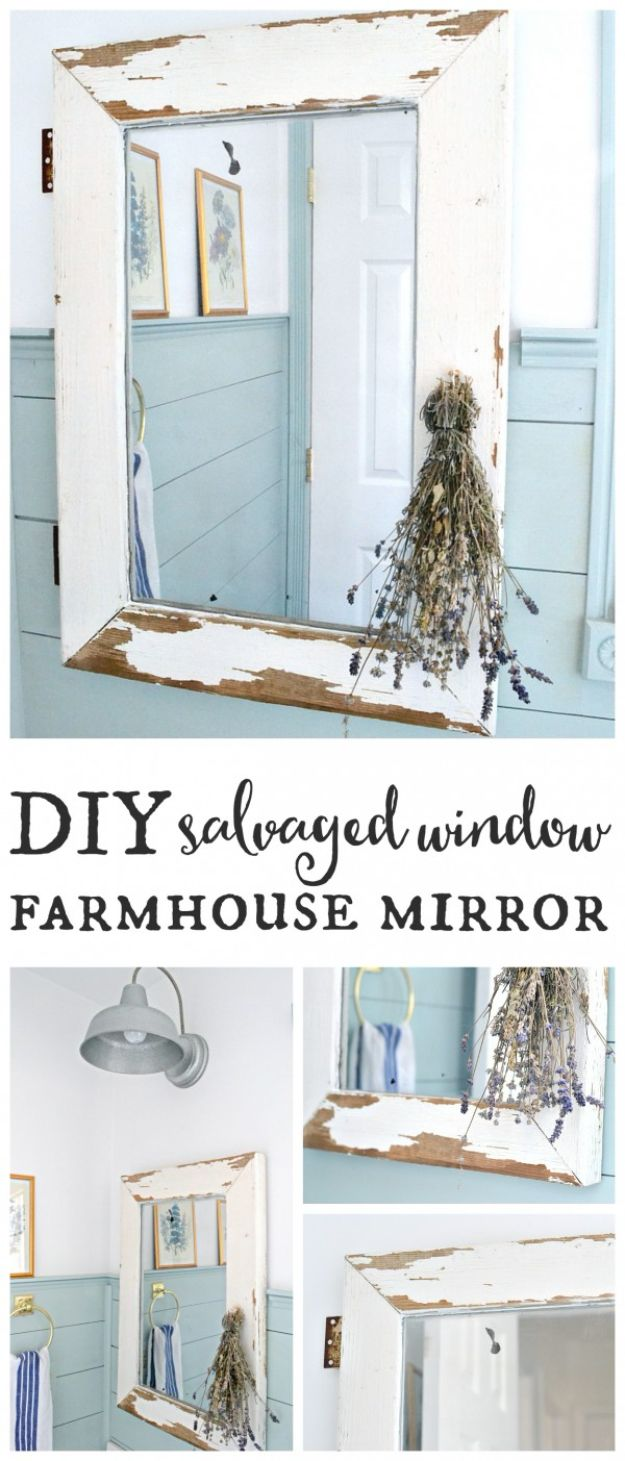 All White DIY Room Decor - Window Farmhouse Mirror - Creative Home Decor Ideas for the Bedroom and Living Room, Kitchen and Bathroom - Do It Yourself Crafts and White Wall Art, Bedding, Curtains, Lamps, Lighting, Rugs and Accessories - Easy Room Decoration Ideas for Modern, Vintage Farmhouse and Minimalist Furnishings - Furniture, Wall Art and DIY Projects With Step by Step Tutorials and Instructions http://diyjoy.com/all-white-decor-ideas
