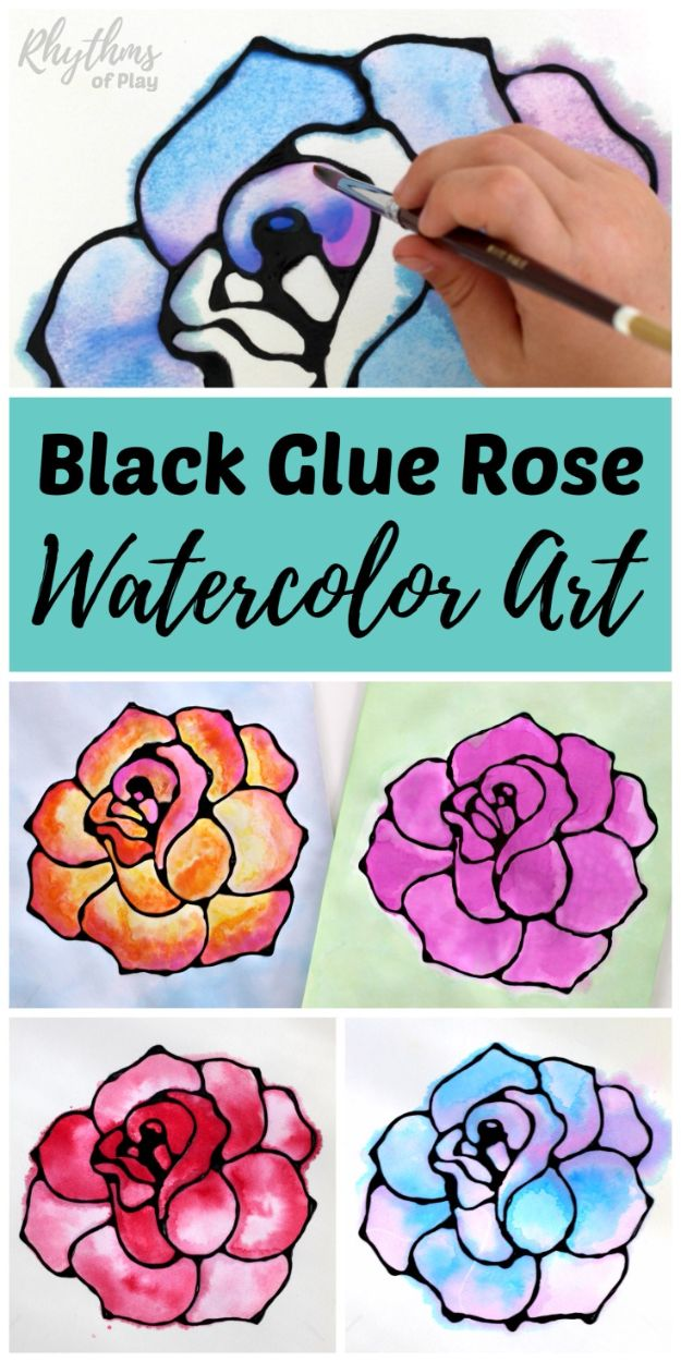 How To Paint Flowers - Black Glue Rose Watercolor Resist Art Project - Step by Step Tutorials for Painting Roses, Daisies, Whimsical and Abstract Floral Techniques - Easy Acrylic Flower Tutorial for Beginners - Paint on Wood, Canvas, On Wasll, Rocks, Fabric and Paper - Step by Step Instructions and How To #painting #flowers #howtopaint #diytutorials #diy http://diyjoy.com/how-to-paint-flowers