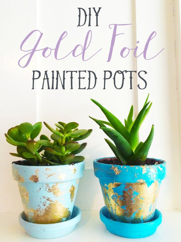 Crafts To Make and Sell - DIY Gold Foil Painted Pots - 75 MORE Easy DIY Ideas for Cheap Things To Sell on Etsy, Online and for Craft Fairs. Make Money with These Homemade Crafts for Teens, Kids, Christmas, Summer, Mother's Day Gifts. http://diyjoy.com/crafts-to-make-and-sell-ideas