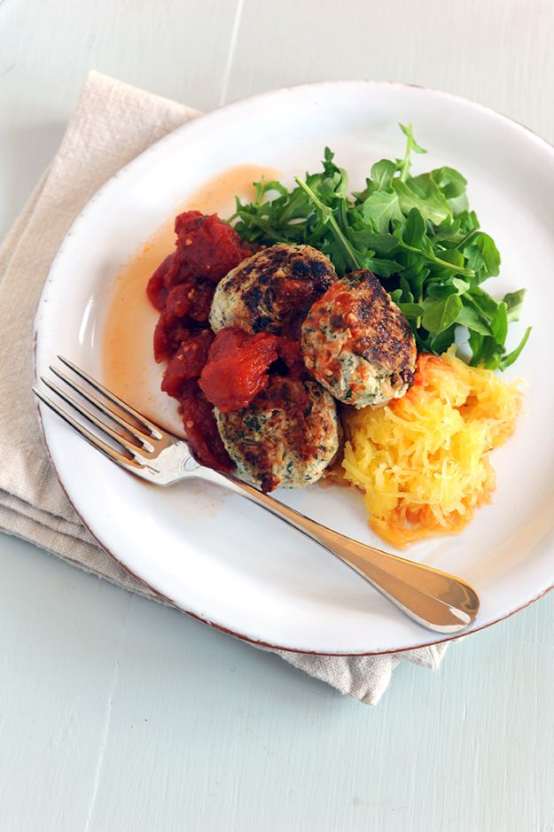 Celebrity Inspired Recipes - Gwyneth Paltrow's Healthy Turkey Meatballs with Spaghetti Squash - Healthy Dinners, Pies, Sweets and Desserts, Cooking for Families and Holidays - Crock Pot Treats