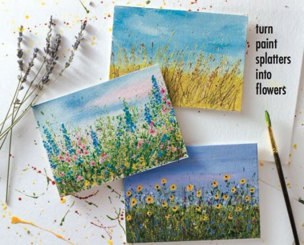 How To Paint Flowers - Let Your Paint Splatters Bloom Into Flower Gardens - Step by Step Tutorials for Painting Roses, Daisies, Whimsical and Abstract Floral Techniques - Easy Acrylic Flower Tutorial for Beginners - Paint on Wood, Canvas, On Wasll, Rocks, Fabric and Paper - Step by Step Instructions and How To #painting #flowers #howtopaint #diytutorials #diy http://diyjoy.com/how-to-paint-flowers