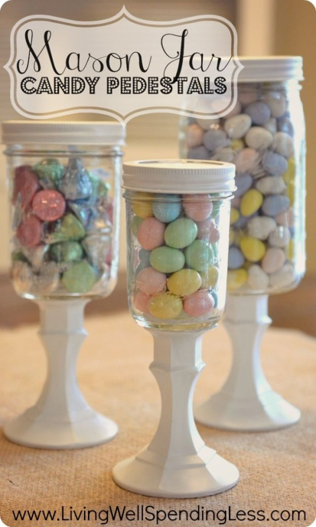 Crafts To Make and Sell - Mason Jar Candy Pedestals - 75 MORE Easy DIY Ideas for Cheap Things To Sell on Etsy, Online and for Craft Fairs. Make Money with These Homemade Crafts for Teens, Kids, Christmas, Summer, Mother's Day Gifts. http://diyjoy.com/crafts-to-make-and-sell-ideas