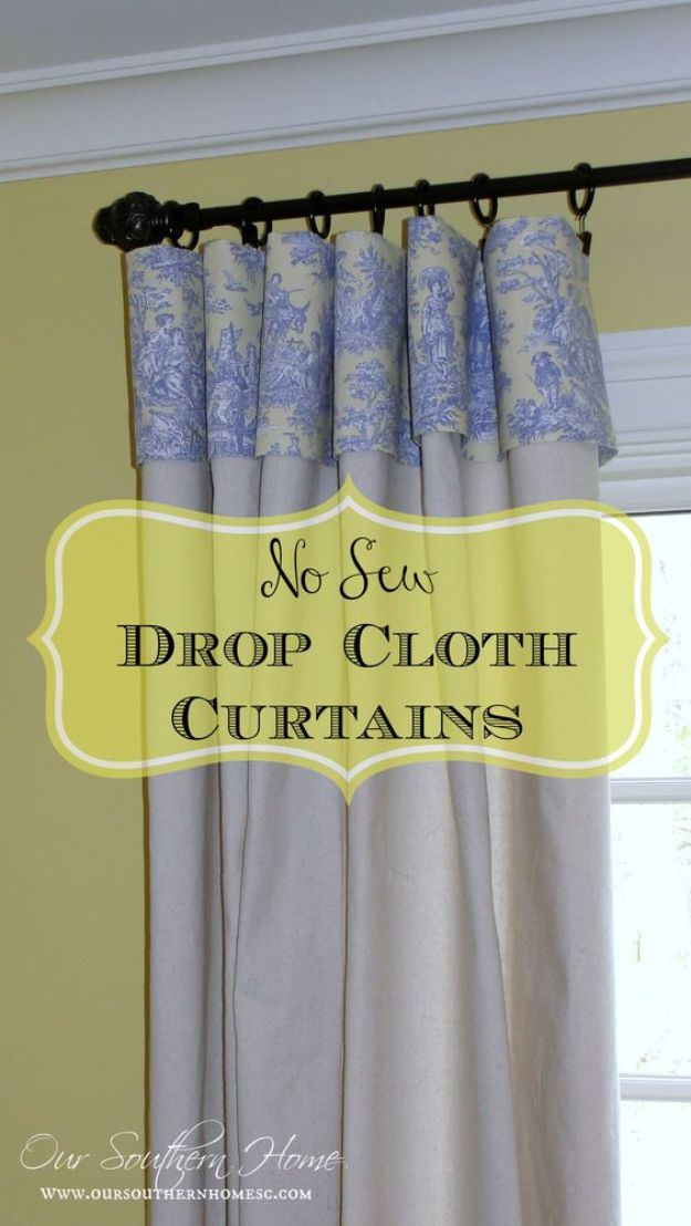 No Sew DIY Home Decor Ideas - No Sew Drop Cloth Curtains - Easy No Sew Projects to Make for Bedroom,. Kitchen, Bath - Crafts to Make and Sell, Blankets, No Sewing Project Ideas