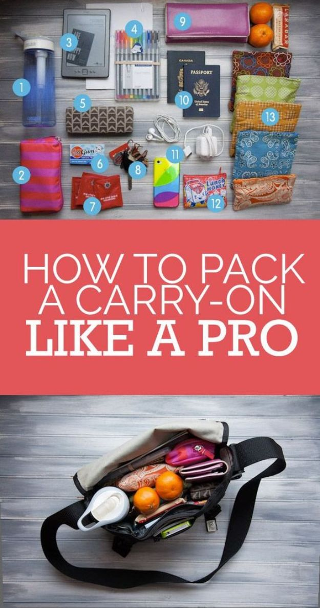 Packing Hacks for Travel - Pack Carry-On Like A Pro - How to Pack and Fold Clothes, Save Space in Suitcase - Tips and Tricks for Shoes, Makeup, Toiletries, Carry On Luggage for Trips