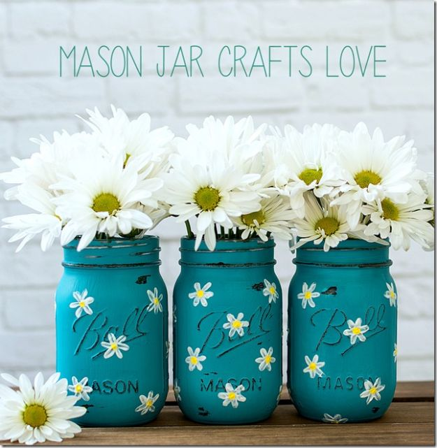 How To Paint Flowers - Painted Daisy Mason Jars - Step by Step Tutorials for Painting Roses, Daisies, Whimsical and Abstract Floral Techniques - Easy Acrylic Flower Tutorial for Beginners - Paint on Wood, Canvas, On Wasll, Rocks, Fabric and Paper - Step by Step Instructions and How To #painting #flowers #howtopaint #diytutorials #diy http://diyjoy.com/how-to-paint-flowers