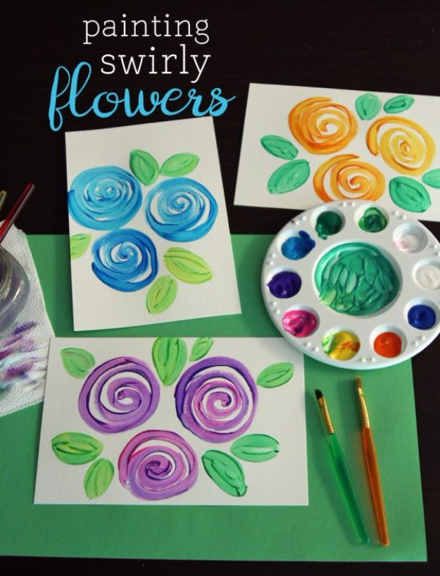 How To Paint Flowers - Painting Swirly Flowers - Step by Step Tutorials for Painting Roses, Daisies, Whimsical and Abstract Floral Techniques - Easy Acrylic Flower Tutorial for Beginners - Paint on Wood, Canvas, On Wasll, Rocks, Fabric and Paper - Step by Step Instructions and How To #painting #flowers #howtopaint #diytutorials #diy http://diyjoy.com/how-to-paint-flowers