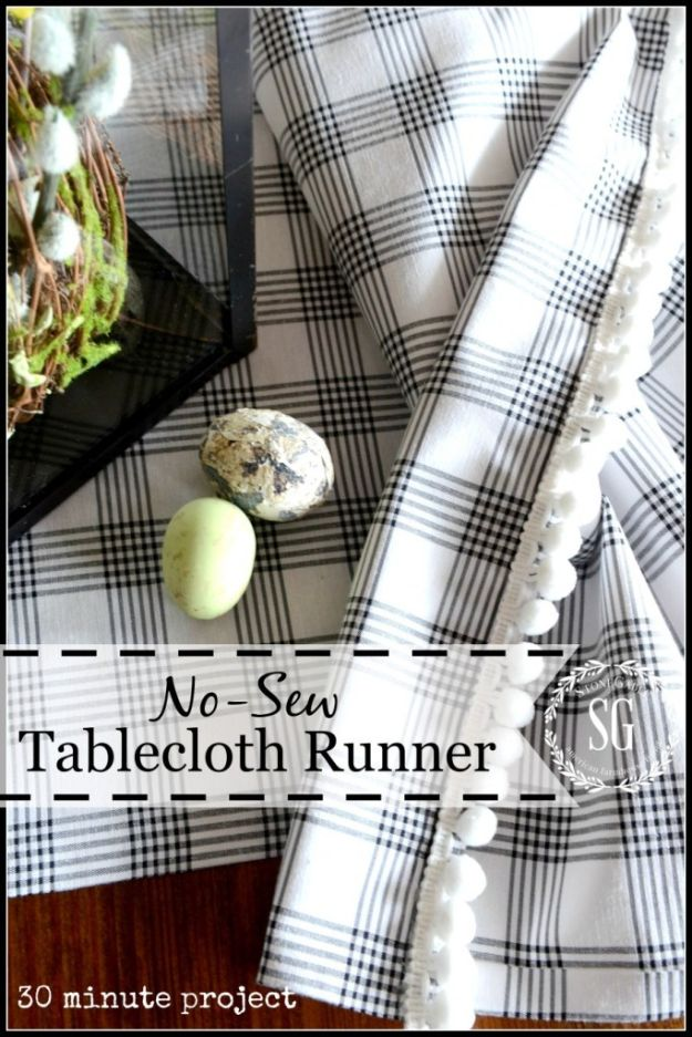 No Sew DIY Home Decor Ideas - Pretty No-Sew Table Runner - Easy No Sew Projects to Make for Bedroom,. Kitchen, Bath - Crafts to Make and Sell, Blankets, No Sewing Project Ideas