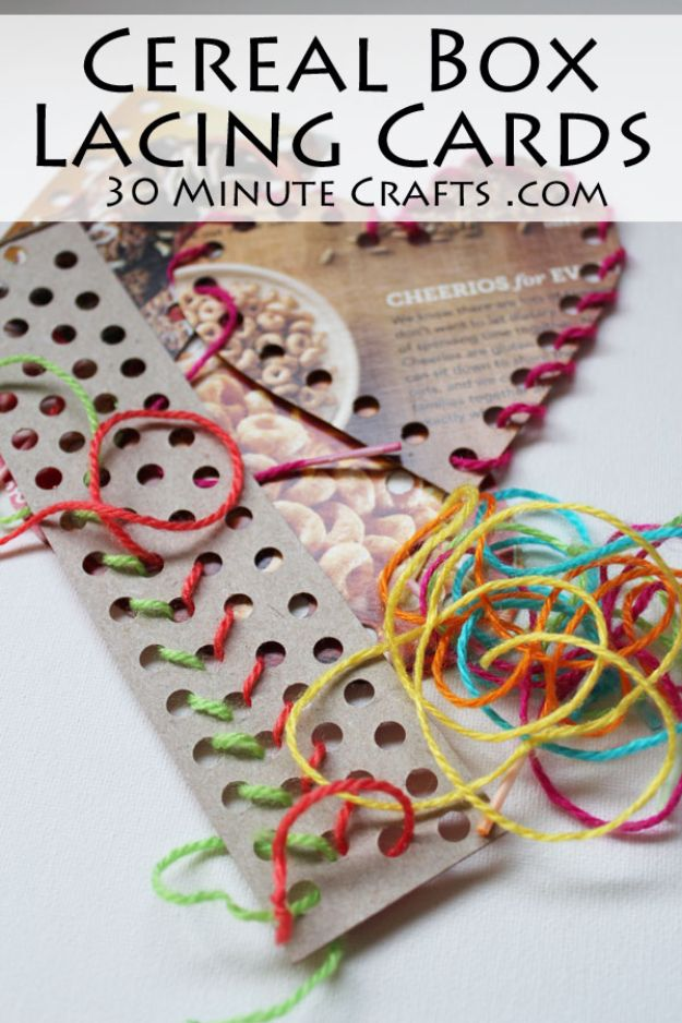Cool DIY Ideas With Cereal Boxes - Cereal Box Lacing Cards - Easy Organizing Ideas, Cute Kids Crafts and Creative Ways to Make Things Out of A Cereal Box - Cheap Gifts, DIY School Supplies and Storage Ideas http://diyjoy.com/diy-ideas-cereal-boxes