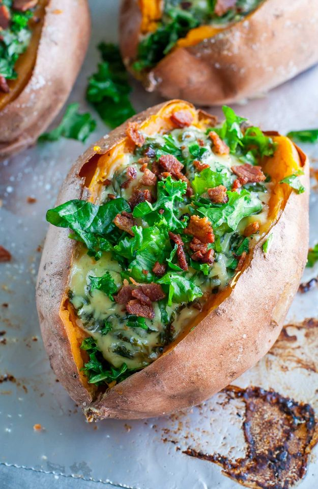Best Kale Recipes - Cheesy Kale Stuffed Sweet Potatoes With Havarti & Garlic - How to Cook Kale at Home - Healthy Green Vegetable Cooking for Salads, Soup, Lunches, Stir Fry and Dinner - Kale Chips. Salad, Shredded, Cooked, Fresh and Sauteed Kale - Vegan, Vegetarian, Keto, Low Carb and Lowfat Recipe Ideas #kale #kalerecipes #vegetablerecipes #veggies #recipeideas #dinnerideas http://diyjoy.com/best-kale-recipes
