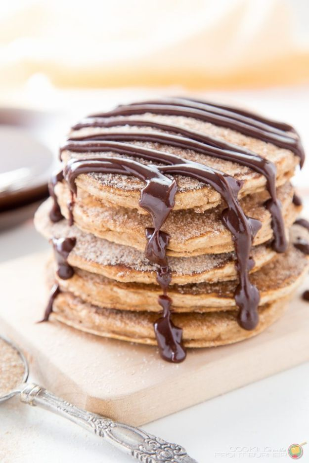 Best Pancake Recipes - Churro Pancakes With Spicy Chocolate Sauce - Homemade Pancakes With Banana, Berries, Fruit and Maple Syrup - How To Make Pancake Mix at Home - Gluten Free, Low Fat and Healthy Recipes - Breakfast and Brunch Recipe Ideas - Silver Dollar, Buttermilk, Make Ahead and Quick Versions With Strawberries and Blueberries #pancakes #pancakerecipes #recipeideas #breakfast #breakfastrecipes http://diyjoy.com/pancake-recipes