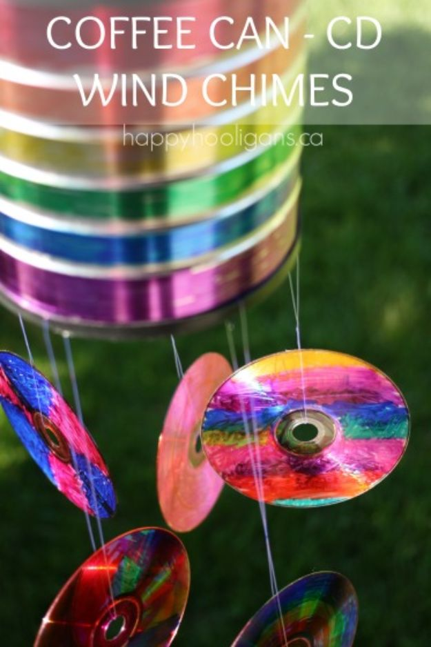DIY Ideas With Old CD - Coffee Can CD Wind Chime - Do It Yourself Crafts and Projects Using Old Compact Discs - Recycle Jewelry, Room Decoration Mosaic, Coasters, Garden Art and DIY Home Decor Using Broken DVD - Photo Album, Wall Art and Mirror - Cute and Easy DIY Gifts for Birthday and Christmas Holidays http://diyjoy.com/diy-ideas-old-cd-compact-disc