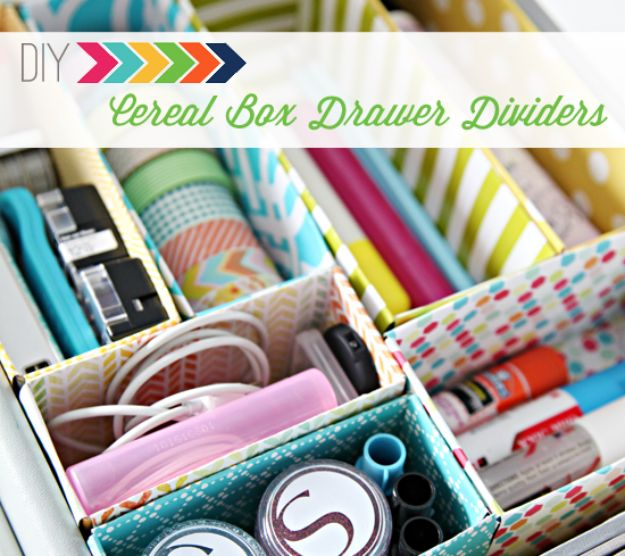 Cool DIY Ideas With Cereal Boxes - DIY Cereal Box Drawer Dividers - Easy Organizing Ideas, Cute Kids Crafts and Creative Ways to Make Things Out of A Cereal Box - Cheap Gifts, DIY School Supplies and Storage Ideas http://diyjoy.com/diy-ideas-cereal-boxes