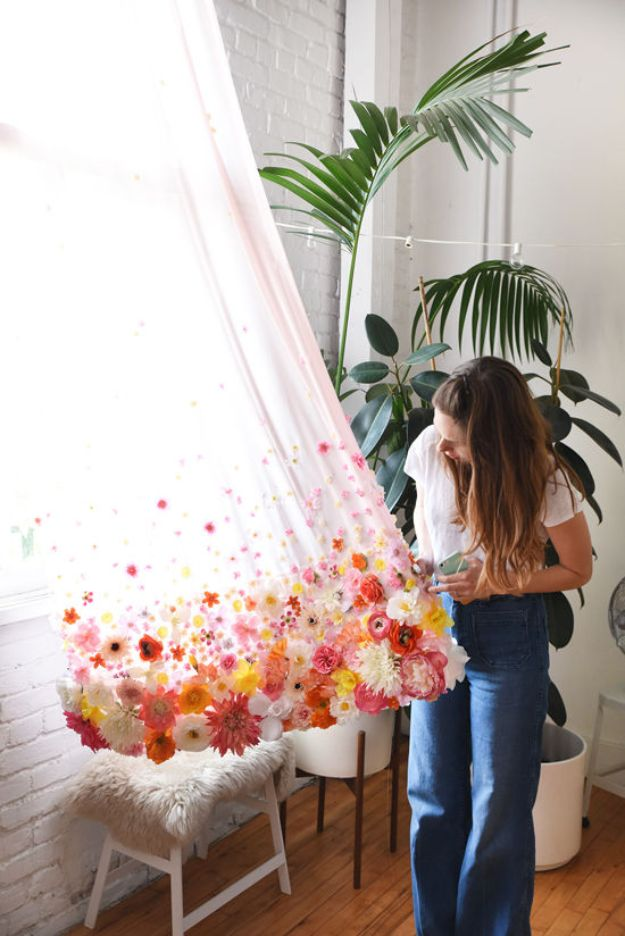 DIY Ideas With Faux Flowers - DIY Floral Curtains - Paper, Fabric, Silk and Plastic Flower Crafts - Easy Arrangements, Wedding Decorations, Wall, Decorations, Letters, Cheap Home Decor