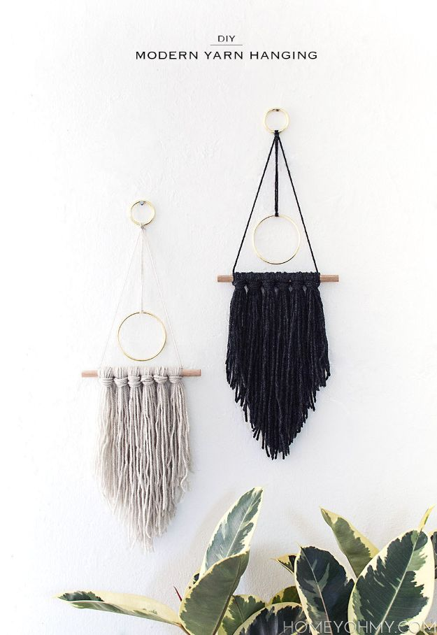DIY Boho Decor Ideas - DIY Modern Yarn Hanging - DIY Bedroom Ideas - Cheap Hippie Crafts and Bohemian Wall Art - Easy Upcycling Projects for Living Room, Bathroom, Kitchen #boho #diy #diydecor