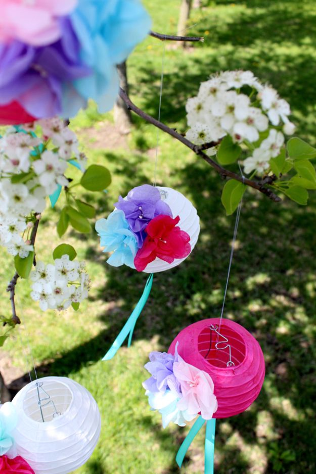 DIY Ideas With Faux Flowers - DIY Paper Flower Lanterns - Paper, Fabric, Silk and Plastic Flower Crafts - Easy Arrangements, Wedding Decorations, Wall, Decorations, Letters, Cheap Home Decor