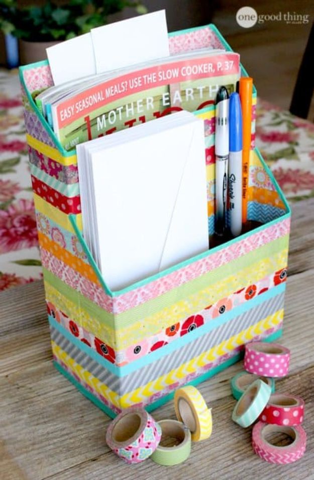 Cool DIY Ideas With Cereal Boxes - DIY Washi Tape Cereal Box Organizer - Easy Organizing Ideas, Cute Kids Crafts and Creative Ways to Make Things Out of A Cereal Box - Cheap Gifts, DIY School Supplies and Storage Ideas http://diyjoy.com/diy-ideas-cereal-boxes