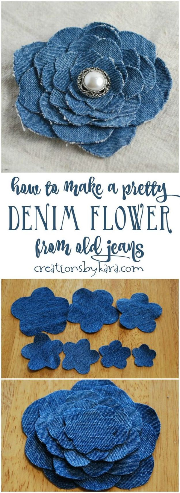 Blue Jean Upcycles - Denim Flower From Old Jeans - Ways to Make Old Denim Jeans Into DIY Home Decor, Handmade Gifts and Creative Fashion - Transform Old Blue Jeans into Pillows, Rugs, Kitchen and Living Room Decor, Easy Sewing Projects for Beginners http://diyjoy.com/diy-blue-jeans-upcyle-ideas