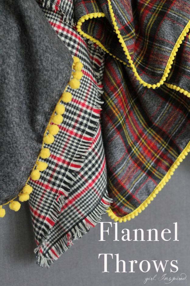 DIY Throw Blankets - Easy Flannel Throw Blankets - How to Make Easy Throws and Blanket - Fleece Fabrics, No Sew Tutorial, Crochet, Boho, Fur, Cotton, Flannel Ideas #diyideas #diydecor #diy