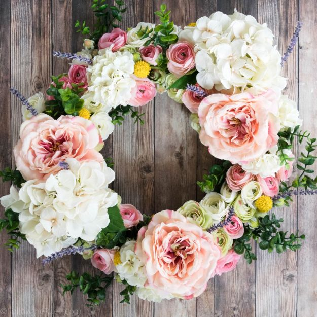 DIY Ideas With Faux Flowers - Faux Flower Wreath - Paper, Fabric, Silk and Plastic Flower Crafts - Easy Arrangements, Wedding Decorations, Wall, Decorations, Letters, Cheap Home Decor