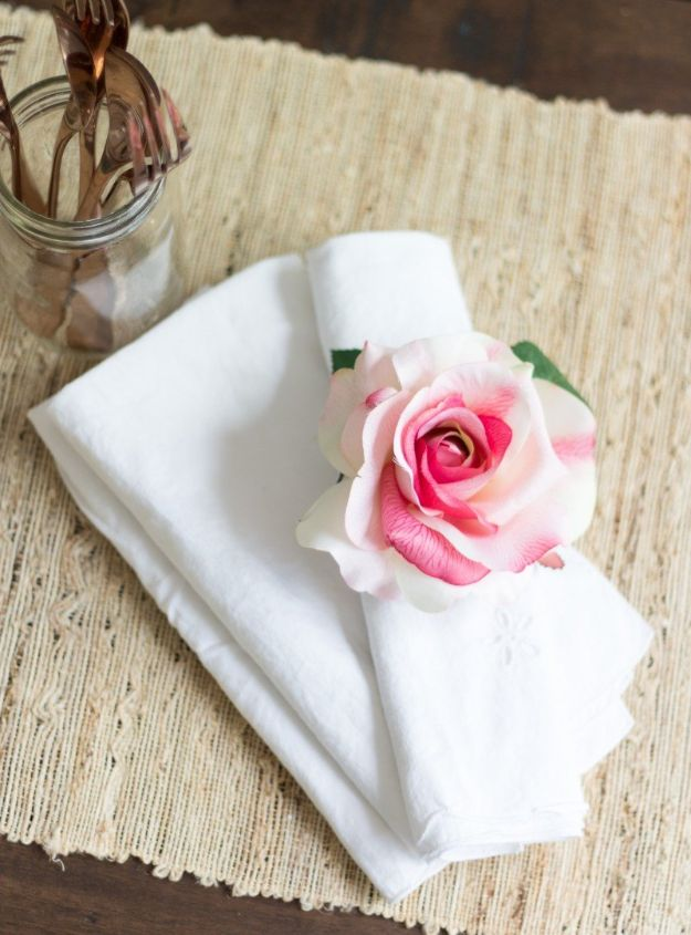 DIY Ideas With Faux Flowers - Floral Napkin Rings - Paper, Fabric, Silk and Plastic Flower Crafts - Easy Arrangements, Wedding Decorations, Wall, Decorations, Letters, Cheap Home Decor