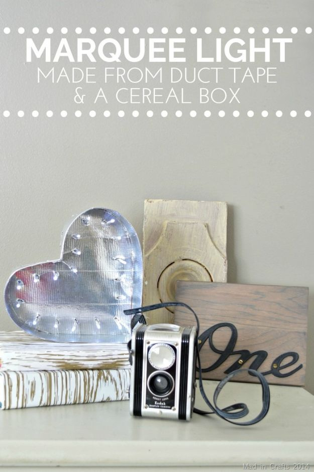 Cool DIY Ideas With Cereal Boxes - Marquee Light Made From Duct Tape & Cereal Box - Easy Organizing Ideas, Cute Kids Crafts and Creative Ways to Make Things Out of A Cereal Box - Cheap Gifts, DIY School Supplies and Storage Ideas http://diyjoy.com/diy-ideas-cereal-boxes