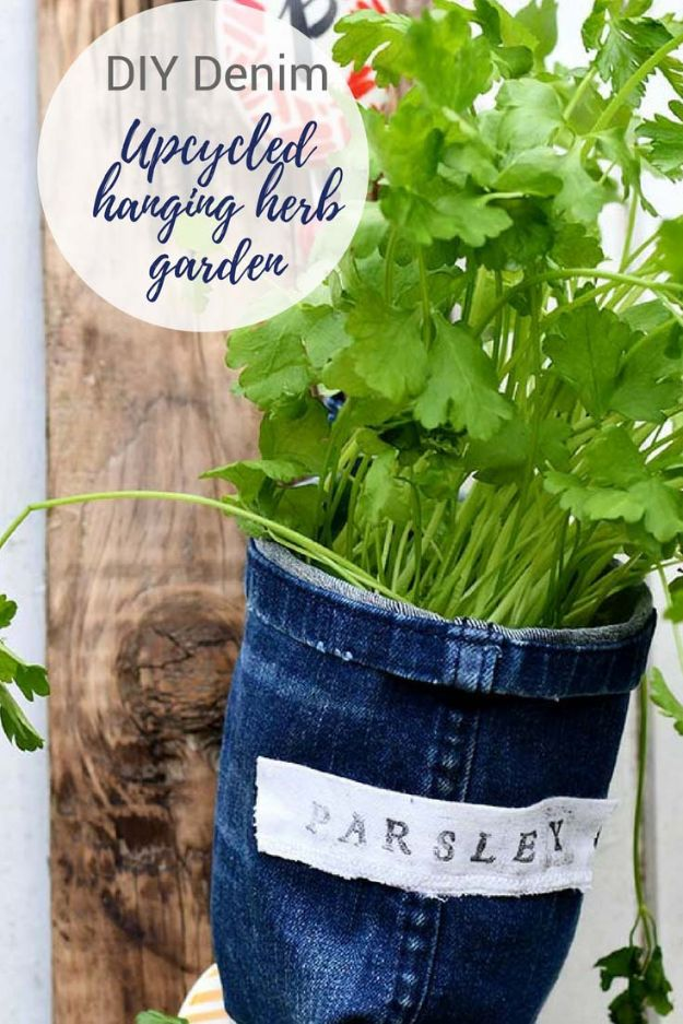 Blue Jean Upcycles - Repurposed Jeans Into Indoor Herb Garden Planters - Ways to Make Old Denim Jeans Into DIY Home Decor, Handmade Gifts and Creative Fashion - Transform Old Blue Jeans into Pillows, Rugs, Kitchen and Living Room Decor, Easy Sewing Projects for Beginners http://diyjoy.com/diy-blue-jeans-upcyle-ideas