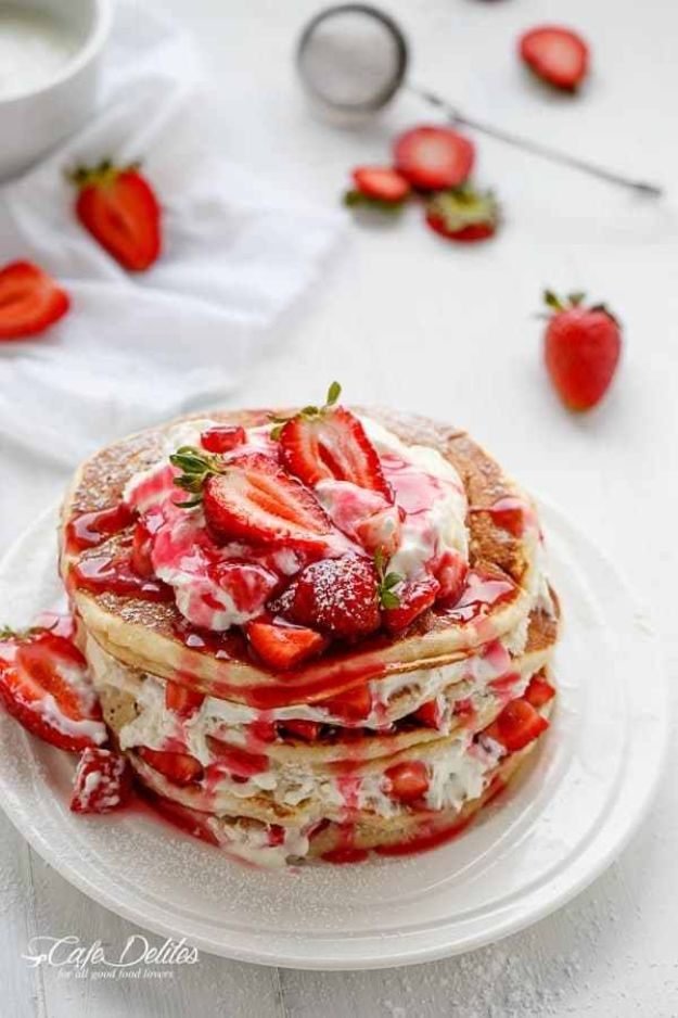 Best Pancake Recipes -Strawberry Shortcake Pancakes - Homemade Pancakes With Banana, Berries, Fruit and Maple Syrup - How To Make Pancake Mix at Home - Gluten Free, Low Fat and Healthy Recipes - Breakfast and Brunch Recipe Ideas - Silver Dollar, Buttermilk, Make Ahead and Quick Versions With Strawberries and Blueberries #pancakes #pancakerecipes #recipeideas #breakfast #breakfastrecipes http://diyjoy.com/pancake-recipes