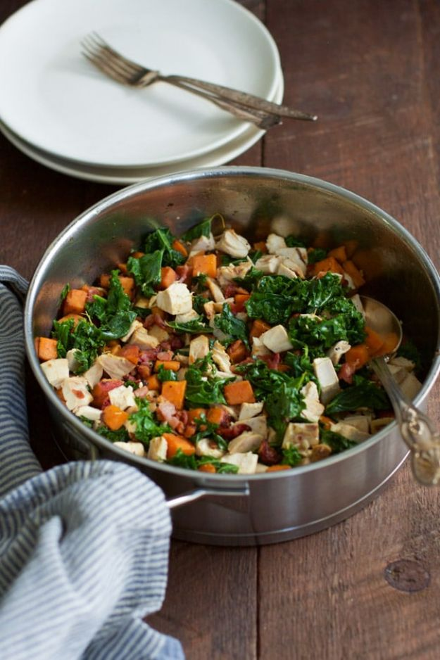 Best Kale Recipes - Sweet Potato Chicken Kale Skillet - How to Cook Kale at Home - Healthy Green Vegetable Cooking for Salads, Soup, Lunches, Stir Fry and Dinner - Kale Chips. Salad, Shredded, Cooked, Fresh and Sauteed Kale - Vegan, Vegetarian, Keto, Low Carb and Lowfat Recipe Ideas #kale #kalerecipes #vegetablerecipes #veggies #recipeideas #dinnerideas http://diyjoy.com/best-kale-recipes