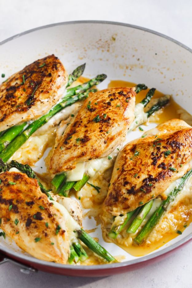 Chicken Breast Recipes - Asparagus Stuffed Chicken Breast - Healthy, Easy Chicken Recipes for Dinner, Lunch, Parties and Quick Weeknight Meals - Boneless Chicken Breast Casserole Recipes, Oven Baked Ideas, Crockpot Chicken Breasts, Marinades for Grilled Foods, Salads, Shredded Chicken Tacos, Creamy Pasta, Keto and Low Carb, Mexican, Asian and Italian Food http://diyjoy.com/chicken-breast-recipes