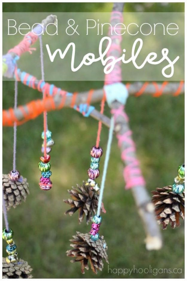 Fun Fall Crafts for Kids - Beautiful Pinecone Mobiles for Kids to Make - Cool Crafts Ideas for Kids to Make With Paper, Glue, Leaves, Corn Husk, Pumpkin and Glitter - Halloween and Thanksgiving - Children Love Making Art, Paintings, Cards and Fall Decor - Placemats, Place Cards, Wall Art , Party Food and Decorations for Toddlers, Boys and Girls #fallcrafts #kidscrafts #kids
