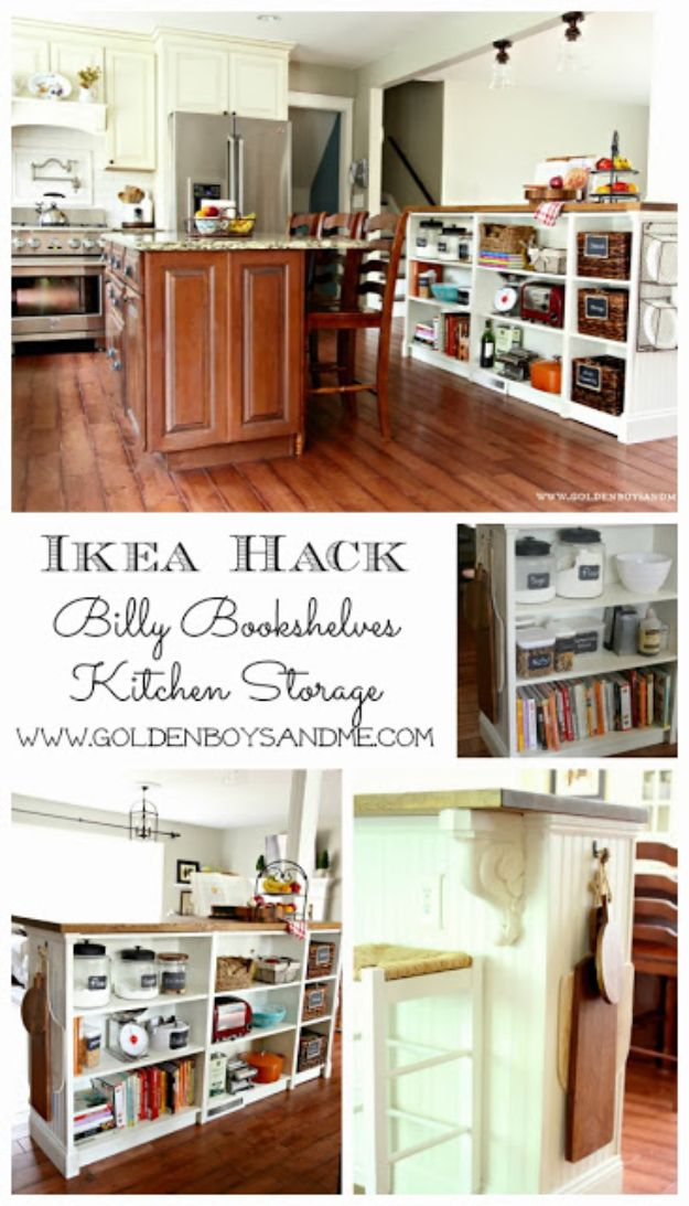 IKEA Hacks for Your Kitchen - Bookshelves Turned Kitchen Island Ikea Hack - DIY Furniture and Kitchen Accessories Made from IKEA - Kitchen Islands, Cabinets, Table, Pantry Organization, Storage, Shelves and Counter Solutions - Bar, Buffet and Entertaining Ideas - Easy Projects With Step by Step Tutorials and Instructions to Hack IKEA items http://diyjoy.com/ikea-hacks-kitchen #ikeahacks #diyhomedecor #diyideas #diykitchen