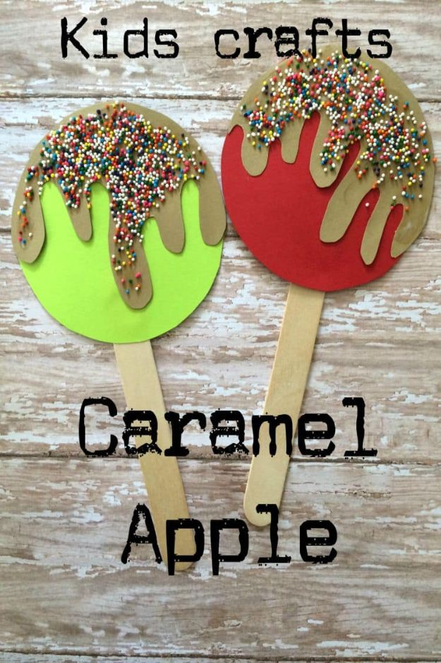 Fun Fall Crafts for Kids - Caramel Apple Popsicle Craft - Cool Crafts Ideas for Kids to Make With Paper, Glue, Leaves, Corn Husk, Pumpkin and Glitter - Halloween and Thanksgiving - Children Love Making Art, Paintings, Cards and Fall Decor - Placemats, Place Cards, Wall Art , Party Food and Decorations for Toddlers, Boys and Girls #fallcrafts #kidscrafts #kids