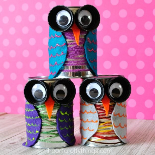 Fun Fall Crafts for Kids - Colorful Tin Can Owl Craft - Cool Crafts Ideas for Kids to Make With Paper, Glue, Leaves, Corn Husk, Pumpkin and Glitter - Halloween and Thanksgiving - Children Love Making Art, Paintings, Cards and Fall Decor - Placemats, Place Cards, Wall Art , Party Food and Decorations for Toddlers, Boys and Girls #fallcrafts #kidscrafts #kids