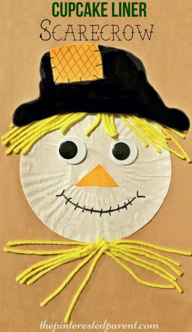 Fun Fall Crafts for Kids - Cupcake Liner Scarecrow - Cool Crafts Ideas for Kids to Make With Paper, Glue, Leaves, Corn Husk, Pumpkin and Glitter - Halloween and Thanksgiving - Children Love Making Art, Paintings, Cards and Fall Decor - Placemats, Place Cards, Wall Art , Party Food and Decorations for Toddlers, Boys and Girls #fallcrafts #kidscrafts #kids