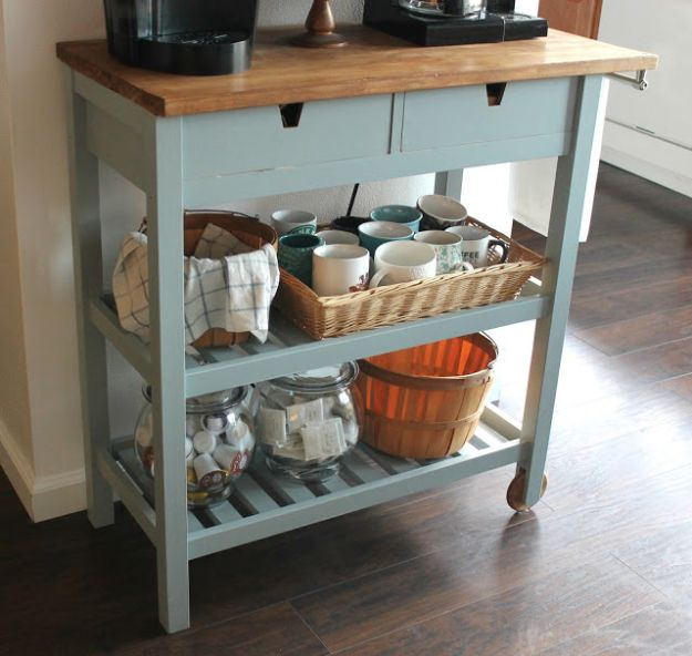 IKEA Hacks for Your Kitchen - DIY IKEA Coffee Cart - DIY Furniture and Kitchen Accessories Made from IKEA - Kitchen Islands, Cabinets, Table, Pantry Organization, Storage, Shelves and Counter Solutions - Bar, Buffet and Entertaining Ideas - Easy Projects With Step by Step Tutorials and Instructions to Hack IKEA items http://diyjoy.com/ikea-hacks-kitchen #ikeahacks #diyhomedecor #diyideas #diykitchen
